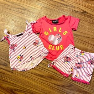 NWT! Pink/White 3pc Outfit Bundle 18 M